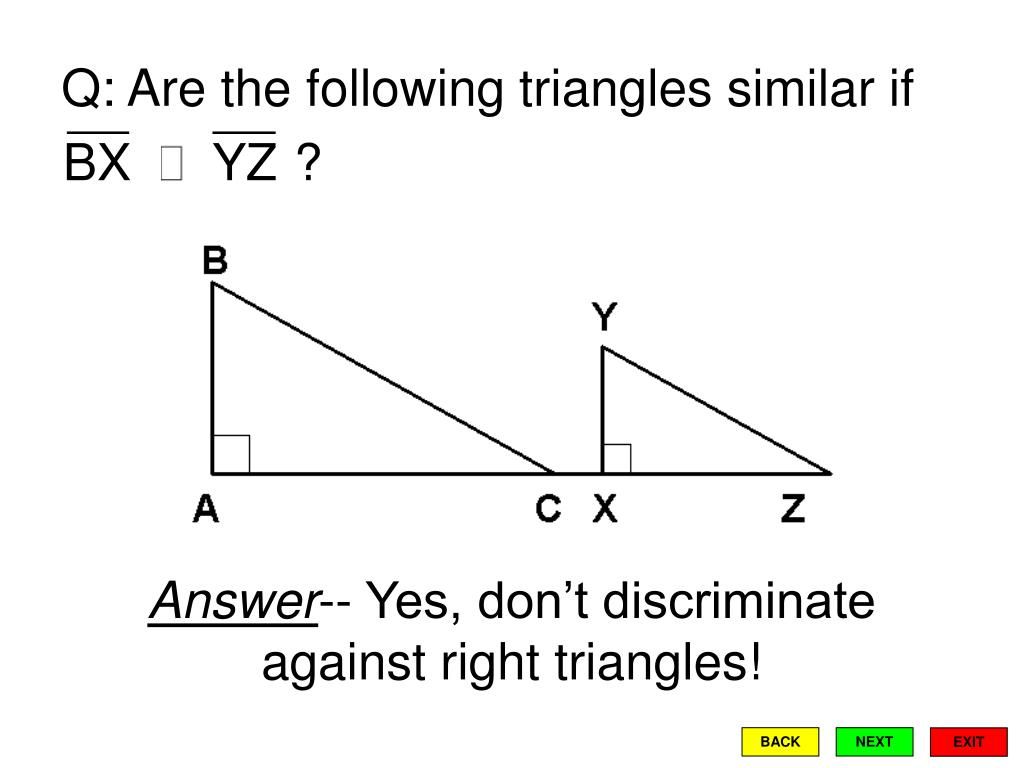 Q: Are the following triangles similar if