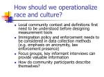 how should we operationalize race and culture