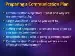 preparing a communication plan