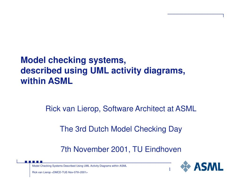 model checking systems described using uml activity diagrams within asml l.
