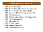the history of american unions