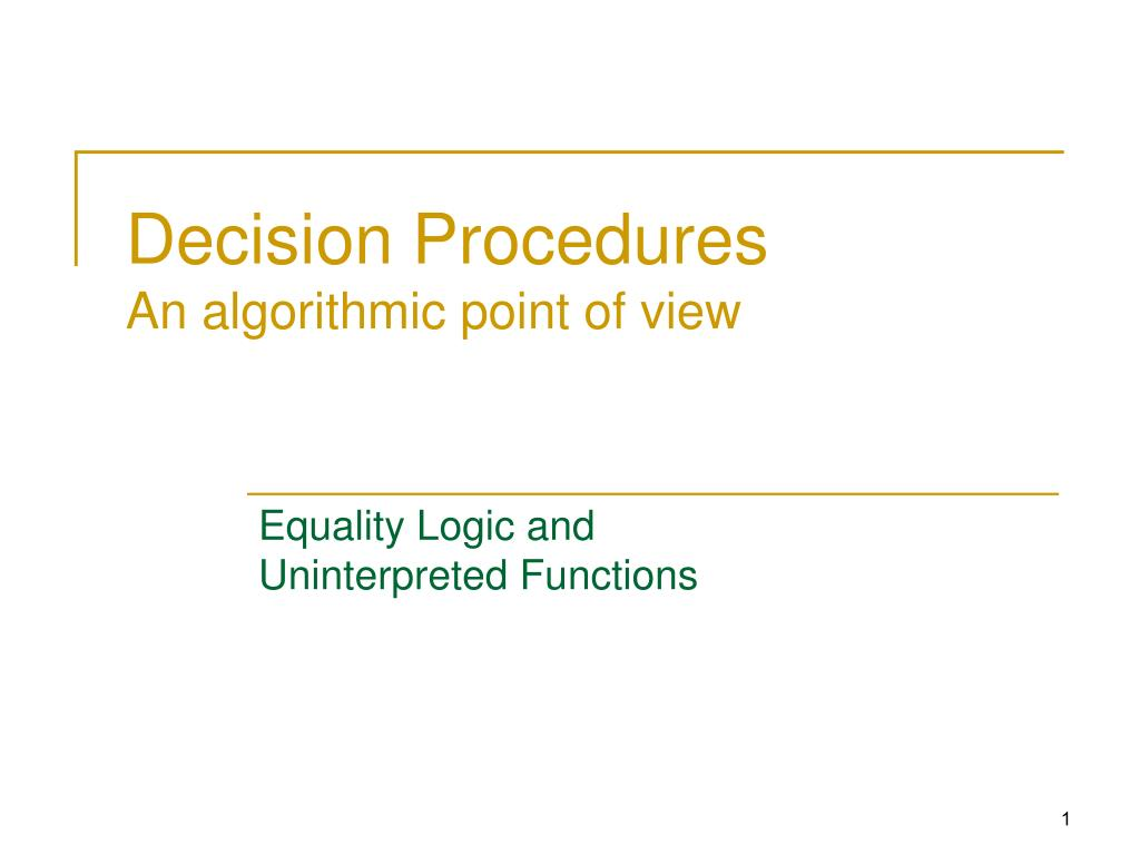 decision procedures an algorithmic point of view l.
