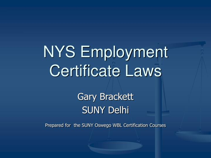 nys employment certificate laws n.