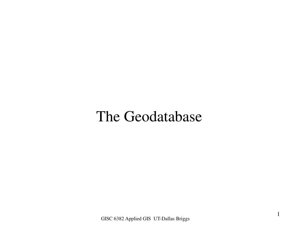 the geodatabase l.