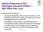 asha s response to slp shortages focused initiative 2007 work plan cont