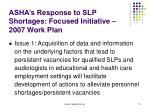asha s response to slp shortages focused initiative 2007 work plan
