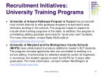 recruitment initiatives university training programs