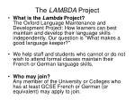 the lambda project