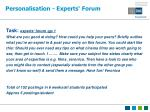 personalisation experts forum