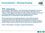 personalisation relaxing reading