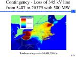 contingency loss of 345 kv line from 5407 to 20379 with 500 mw