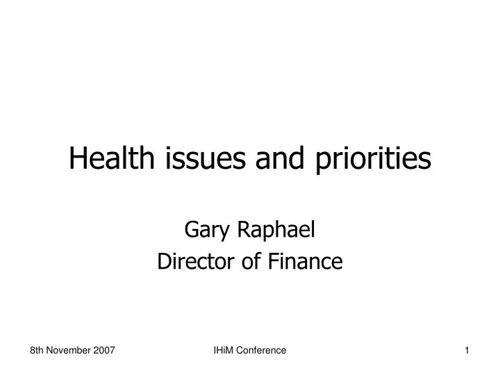 health issues and priorities n.