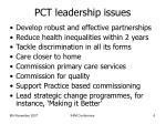 pct leadership issues