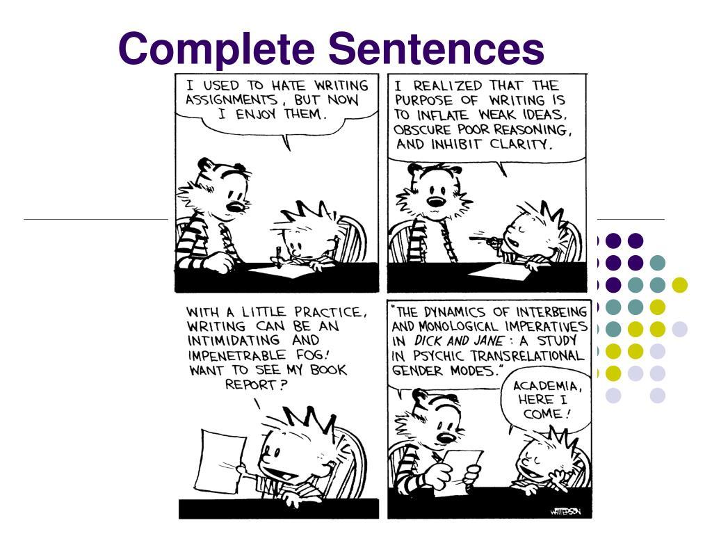 complete sentences l.