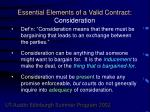 essential elements of a valid contract consideration