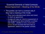 essential elements of valid contracts mutual agreement meeting of the minds