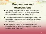 preparation and expectations