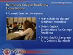 reinforces college readiness expectations