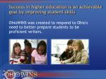 success in higher education is an achievable goal by improving student skills