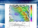 gps ins derived aerogravity vs surface point gravity in ca