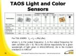 taos light and color sensors