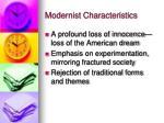 modernist characteristics