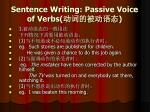 sentence writing passive voice of verbs