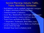 service planning industry traffic trains manifests schedules