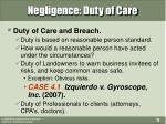 negligence duty of care