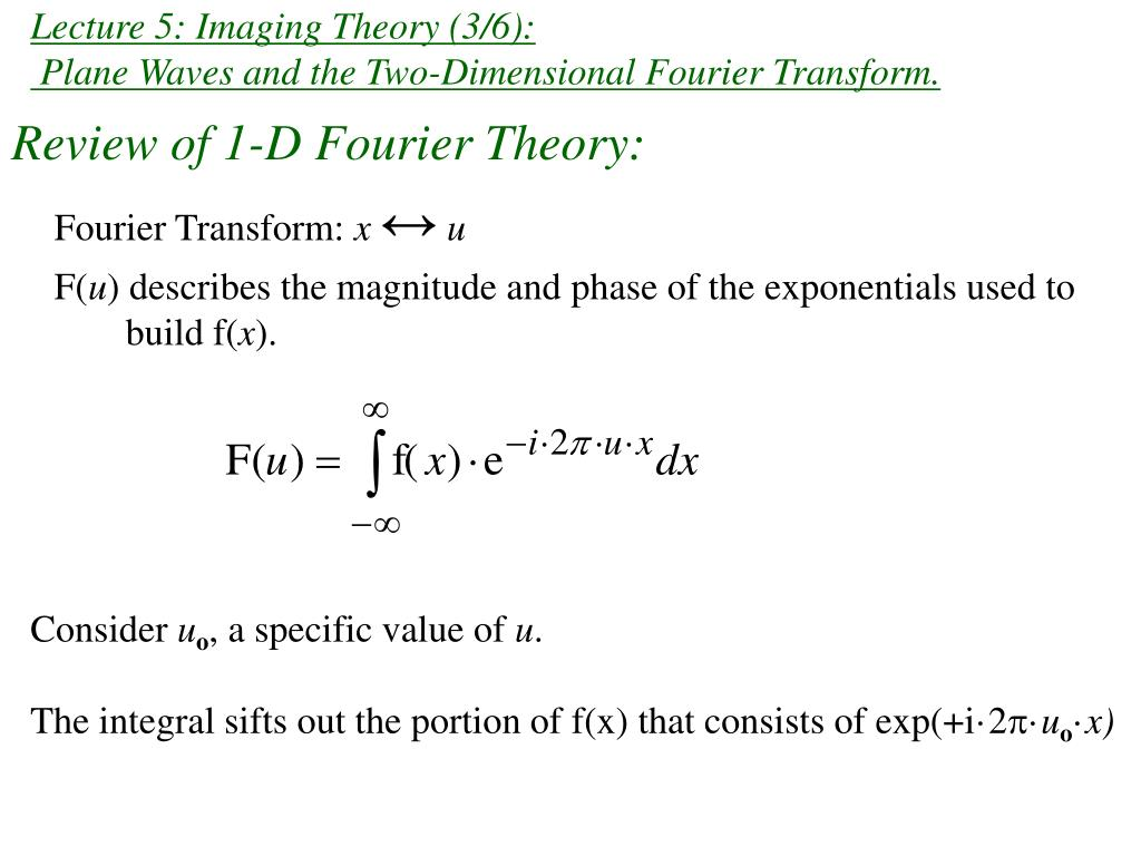 lecture 5 imaging theory 3 6 plane waves and the two dimensional fourier transform l.