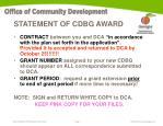 statement of cdbg award