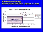 biventricular pacing patient characteristics qrs vs lv size