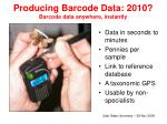 producing barcode data 2010 barcode data anywhere instantly