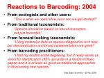 reactions to barcoding 2004