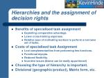 hierarchies and the assignment of decision rights