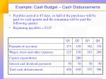 example cash budget cash disbursements