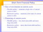 short term financial policy