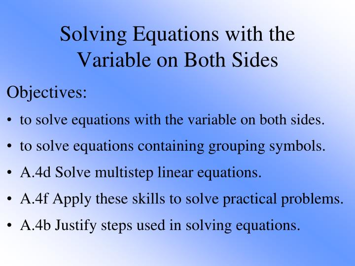 solving equations with the variable on both sides n.