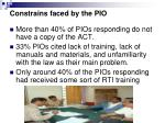 constrains faced by the pio