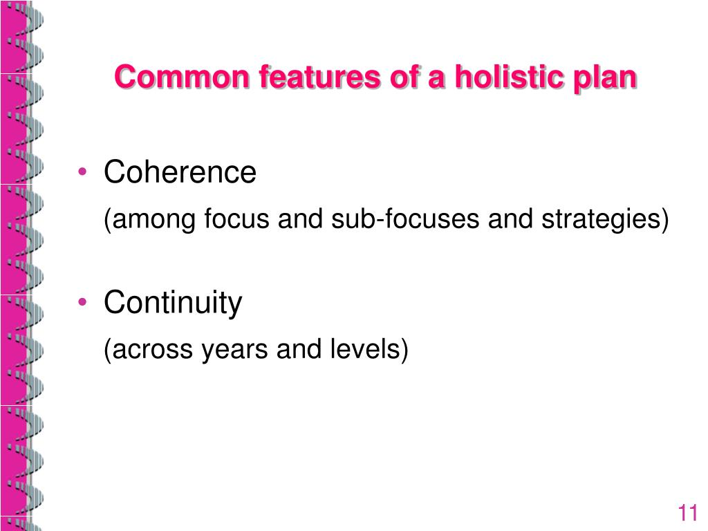 Common features of a holistic plan