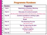 programme rundown