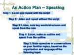 an action plan speaking