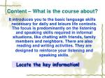 content what is the course about