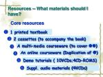 resources what materials should i have