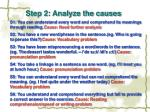 step 2 analyze the causes