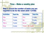 time make a weekly plan