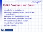 manet constraints and issues