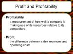 profit and profitability