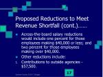 proposed reductions to meet revenue shortfall cont