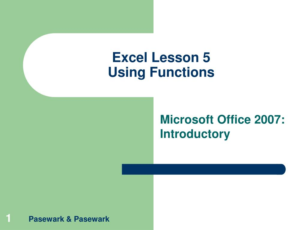 excel lesson 5 using functions l.